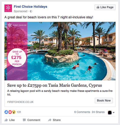 Facebook Website Click ad example