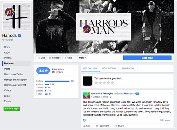 Harrods review example