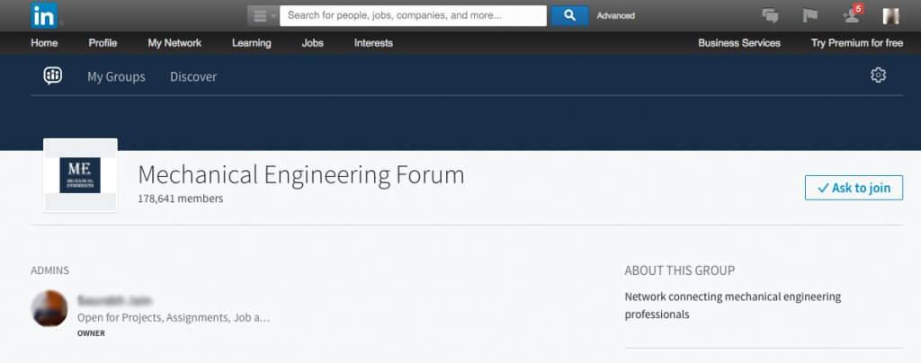 Engineering group example on LinkedIn